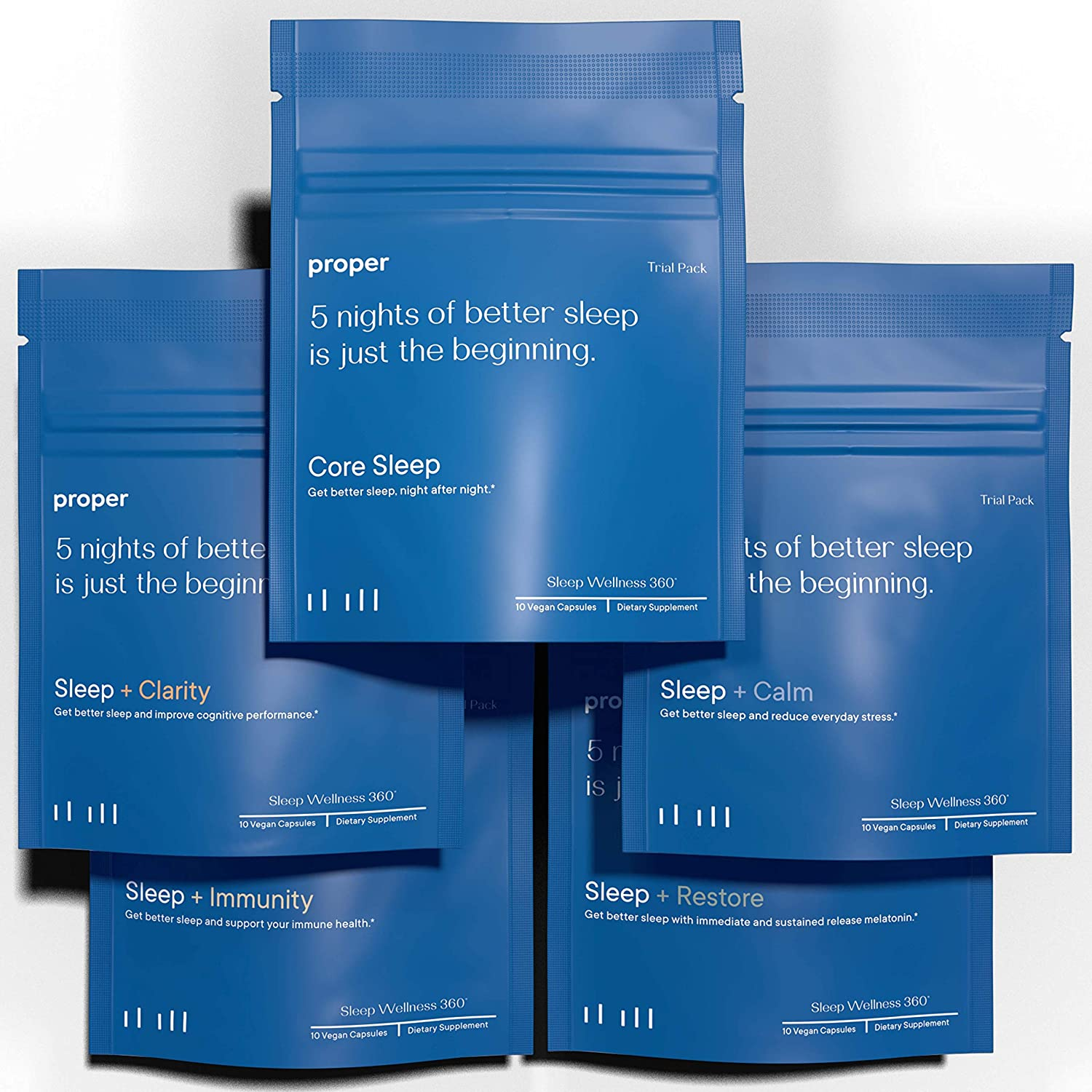 Proper Sleep - Discovery Trial Pack - Natural Healthy Sleep Solution and Sleep Aid for A Full Night of Restful Sleep - 5 Night Supply of 5 Unique Formulations (25 Night Supply or 50 Capsules)