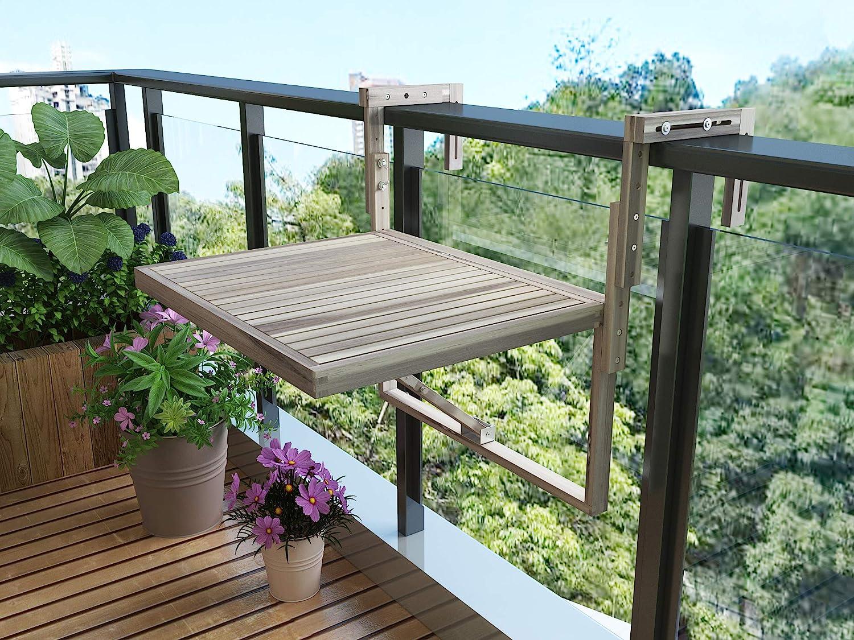 INTERBUILD Toronto Mesa de terraza Plegable para balcón Ajustable FSC Madera de Acacia Color Blanco orgánico 70 x 60 CM: Amazon.es: Jardín