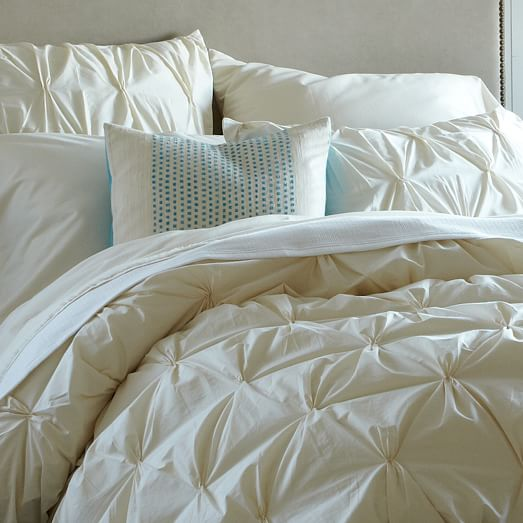 Organic Cotton Pintuck Duvet Cover - King (Natural)