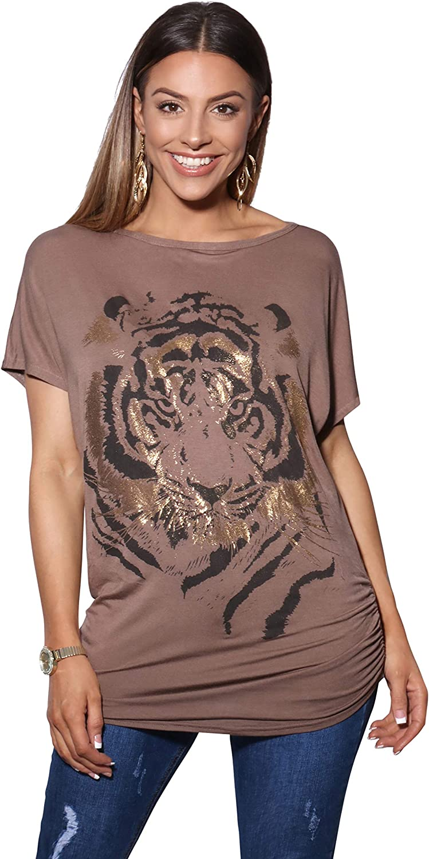 KRISP Camiseta Mujer Top Tallas Grandes Blusa Manga Corta Ancha Fruncido Larga Brillo Elegante Fiesta Casual: Amazon.es: Ropa y accesorios