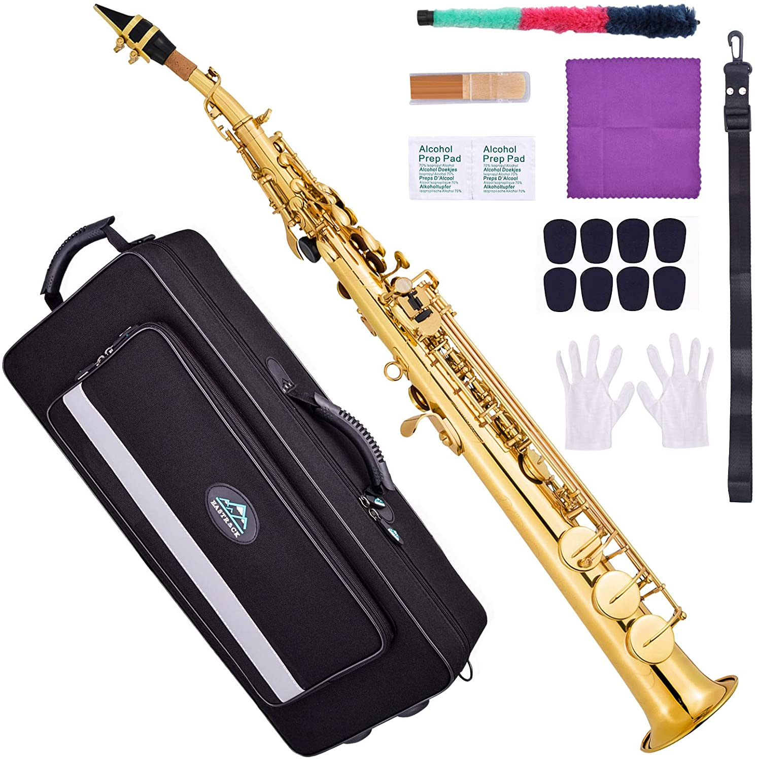 Lacquered Gold B-class Soprano Saxophone high-end appearance Hongyushanghang Saxophone Suitable For Beginners To Practice Playing Instruments Color : Gold Conjoined Straight Saxophone