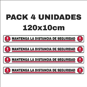 Pack 4 pegatinas para suelo, mantenga distancia de seguridad ...