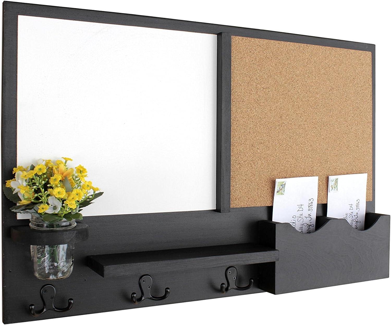 Legacy Studio Decor Message Center with White Board & Cork Board Letter Holder Coat Rack Key Hooks (Smooth, Black)
