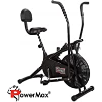 Powermax Fitness BU-205 Exercise Cycle for Weight Loss at Home | Air Bike with back support and moving handles
