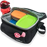 INSULATED COOLER LUNCH BAG FOR MEN AND WOMEN + Free LUNCH MEAL IDEAS E-Book. Has a Polyester Mesh Storage Pocket and Black Strap. Adult Lunch boxes large enough to hold a 6 pack. Compact Bags