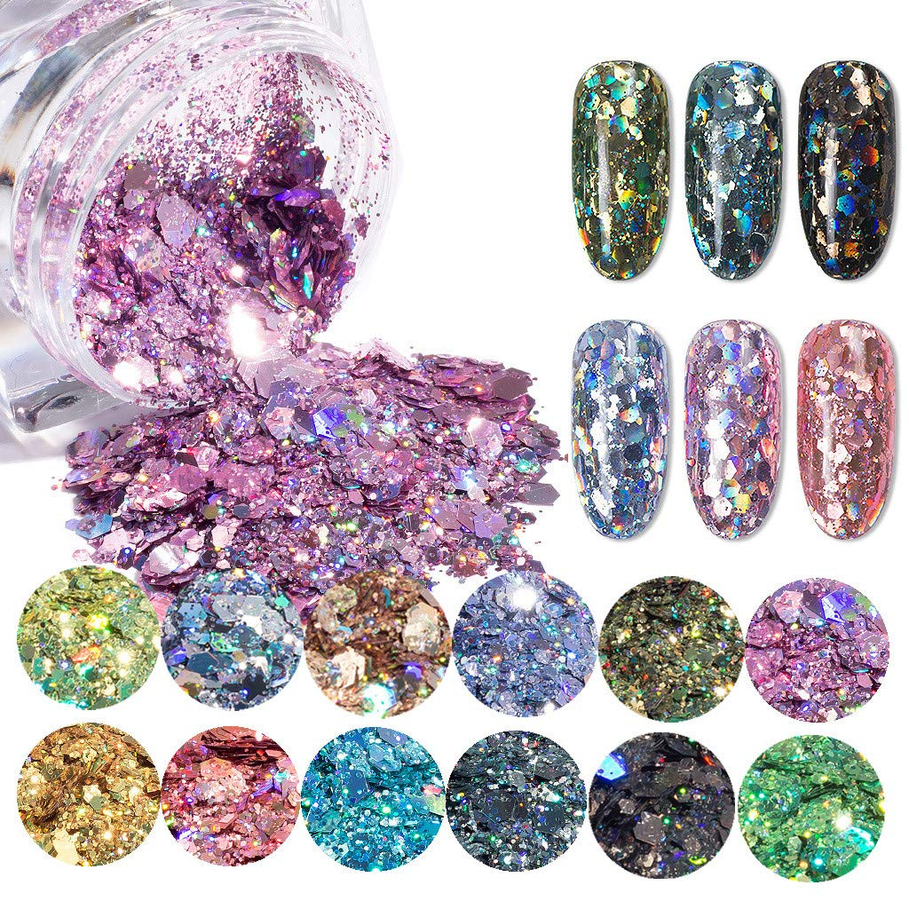 Hexagonal Flash Nail Powder, 12 Box Chunky Glitter Nail Mermaid Gradient Effect Flake Mixed Paillette Sequins for Face,Hair,Body, Makeup, 1g /jar by ASfairy-Beauty