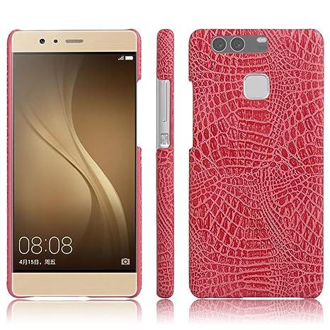 Apanphy Huawei P9 Plus Funda, Textura de cuero PU de alta calidad Ultra Slim sensacion comoda para Carcasa Huawei P9 Plus, Rosa