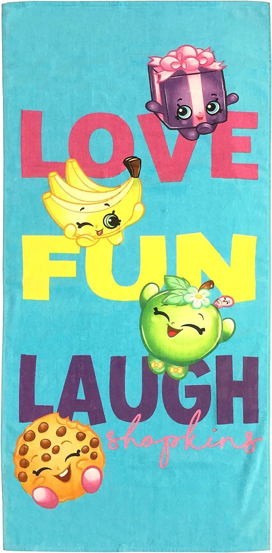 """Shopkins Love Fun Laugh 28"""" x 58"""" Teal Cotton Bath/Pool/Beach Towel"""