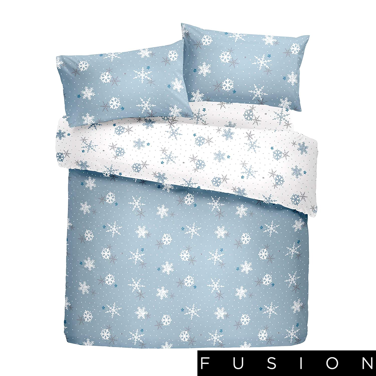 Christmas Snowflake Fusion Christmas Double Bed Size Red Bedding 100/% Brushed Cotton Duvet Cover Set