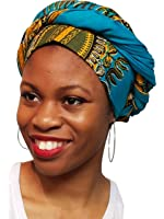 Turquoise African Print Ankara Head wrap, Tie, scarf, Multicolor, One Size