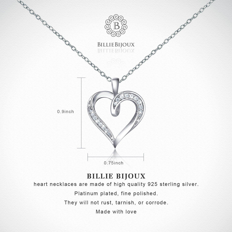 Billie Bijoux 925 Sterling Silver Infinity Love Heart Necklace Platinum Plated Round CZ Diamond Fine Woman's jewelry 18'' by Billie Bijoux (Image #3)
