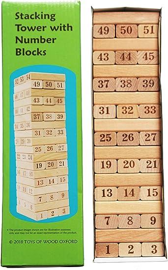TOWO Juego de Torre de Madera - Torre apilable de Madera - Bloques de Numeros - Juego de Madera para niño y niña - Fichas de Construcion Madera - Domino Infantil -