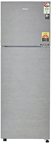 8. Haier 258 L 3 Star ( 2019 ) Frost Free Double Door Refrigerator(HEF-25TDS, Dazzle Steel/Brushline silver, Convertible)