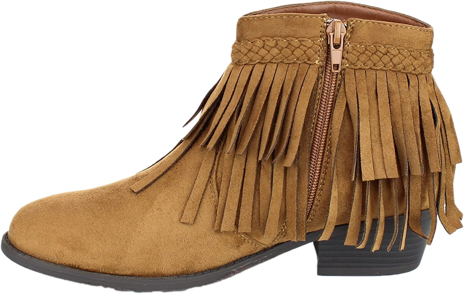 Refresh Womens Tildon-05 Suede Fringe Western Cowgirl Boho Ankle Boot