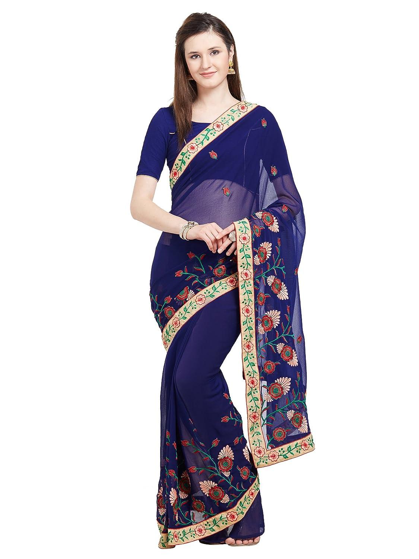 a1162e2636844f Amazon.com  Viva N Diva Saree for Women s Blue Color Marble Chiffon Saree  Embroidered with Un-Stiched Blouse Piece