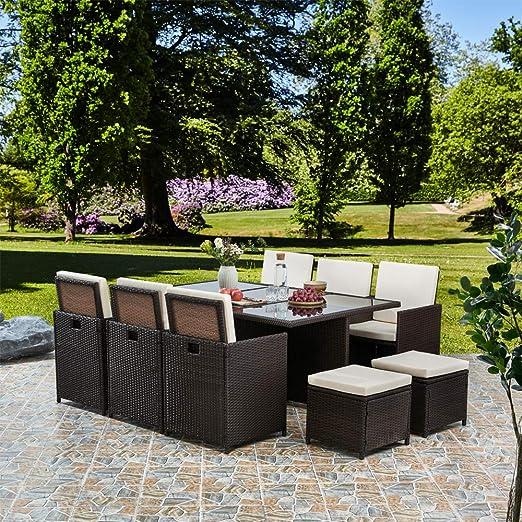 11 piezas 10 Plazas Ratán cubo mesa de comedor muebles de jardín de patio, marrón: Amazon.es: Jardín