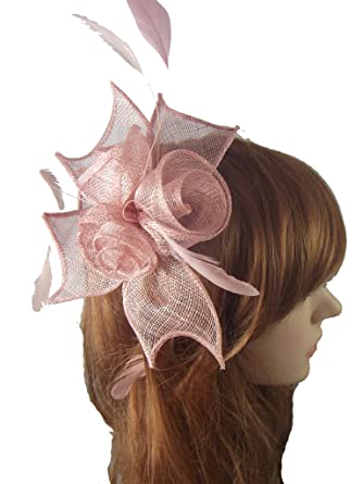 cfac7af6 Blush Pink Rose Comb Fascinator with Feathers - Occasion Wedding Races