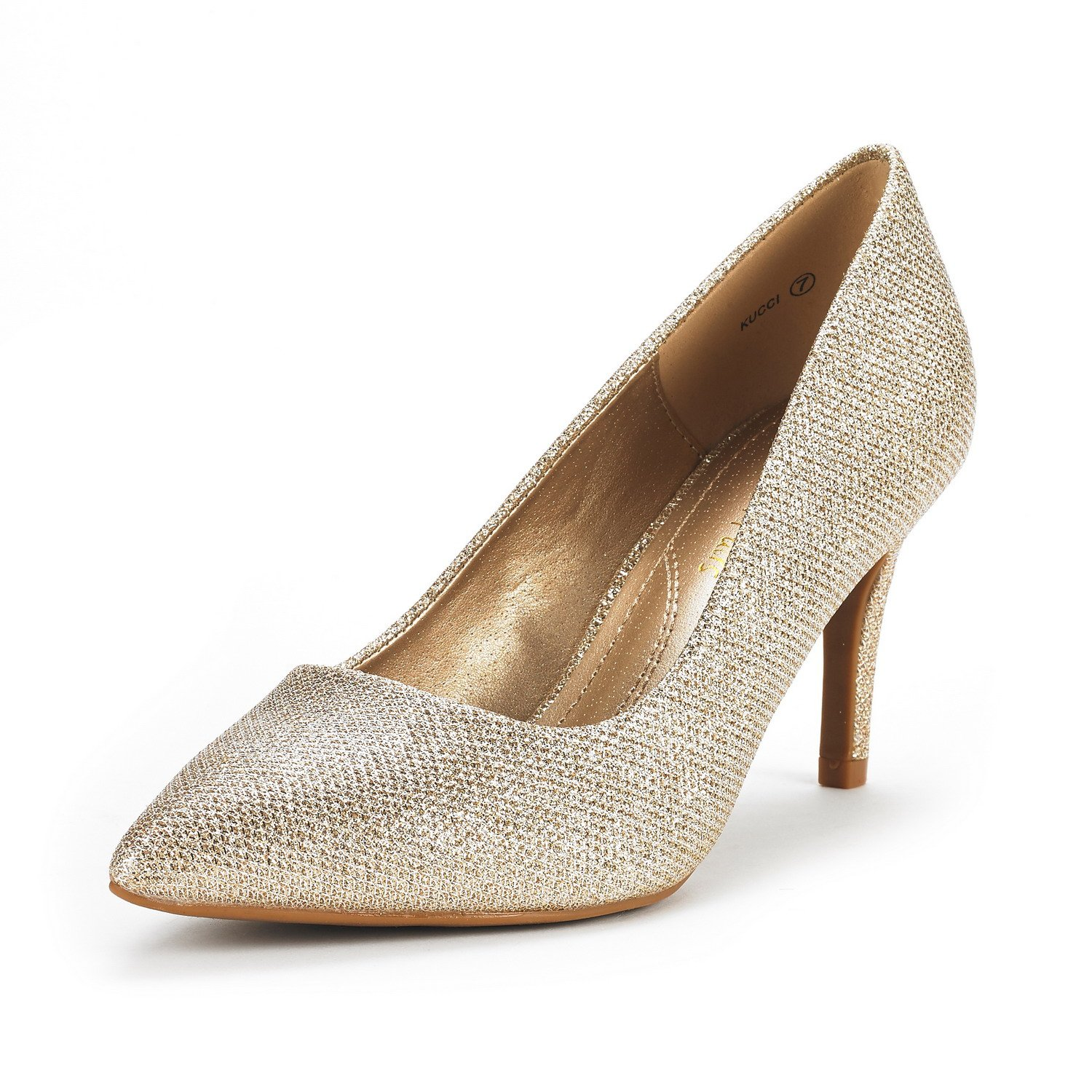 DREAM PAIRS Women's KUCCI Gold Glitter Classic Fashion Pointed Toe High Heel Dress Pumps Shoes Size 6.5 M US
