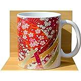 Japonais Floral Fans Tasse à thé Blanc
