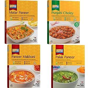 Ashoka - Paneer Combo (Matar Paneer, Paneer Makhani, Punjabi Choley, Palak Paneer), 4 PACK, Ready to Eat Meals