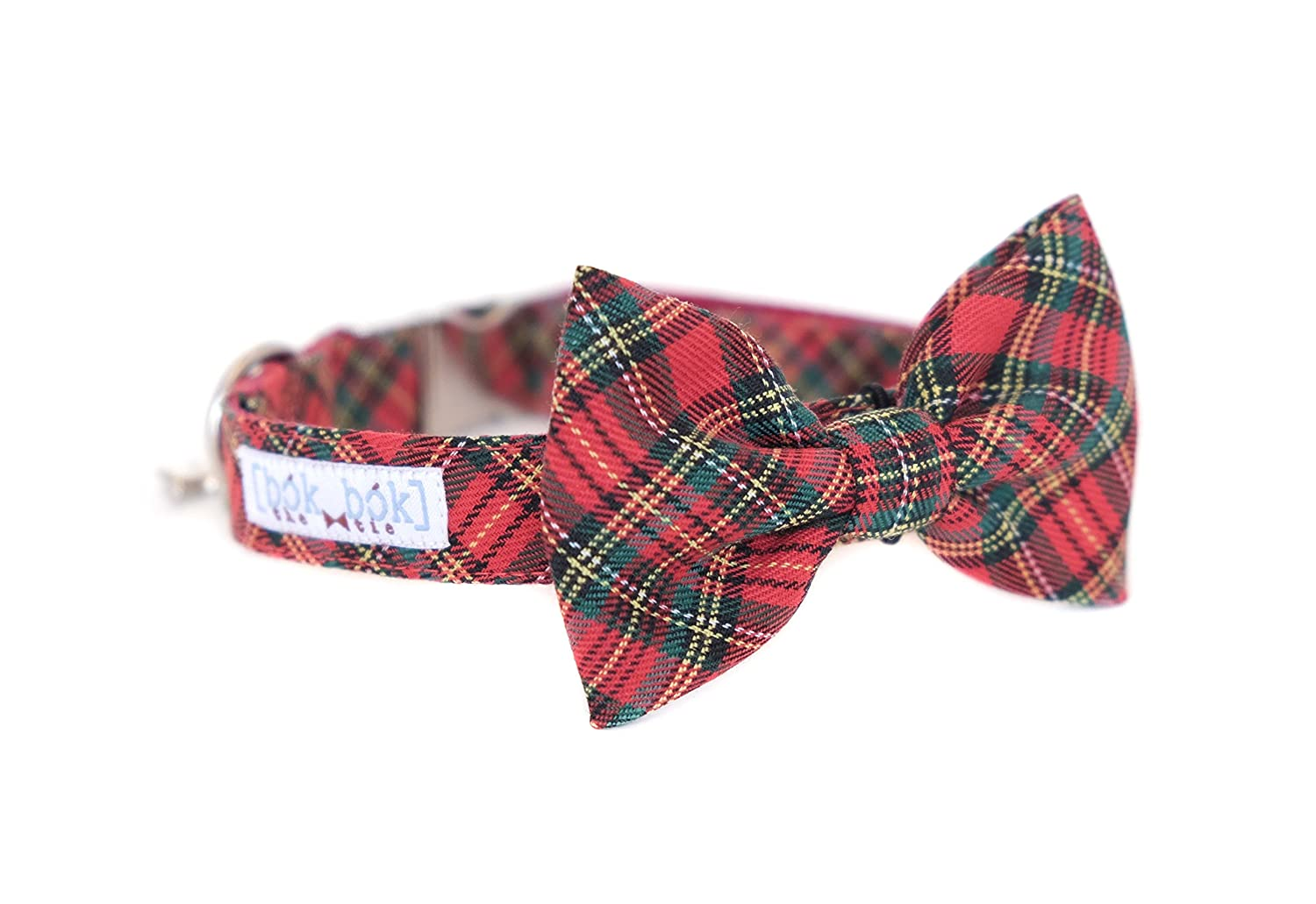 Small Christmas Red & Green Tartan Hand Stitched Dog Cat Pet Bow Tie Bowtie with a Collar Accessory (Small)