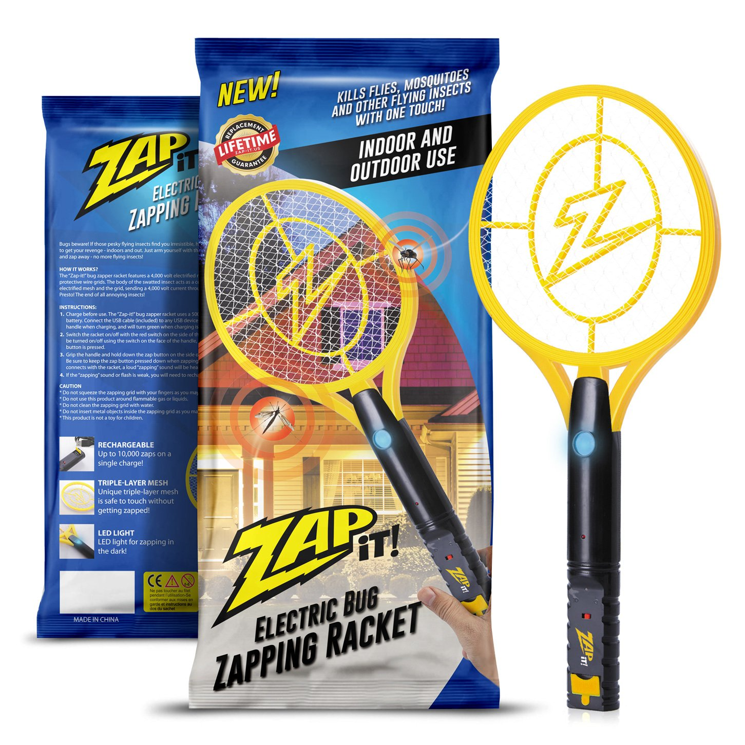 ZAP IT! Bug Zapper - Rechargeable Mosquito, Fly Killer and Bug Zapper Racket - 4,000 Volt - USB Charging, Super-Bright LED Light to Zap in The Dark - Safe to Touch (Large)