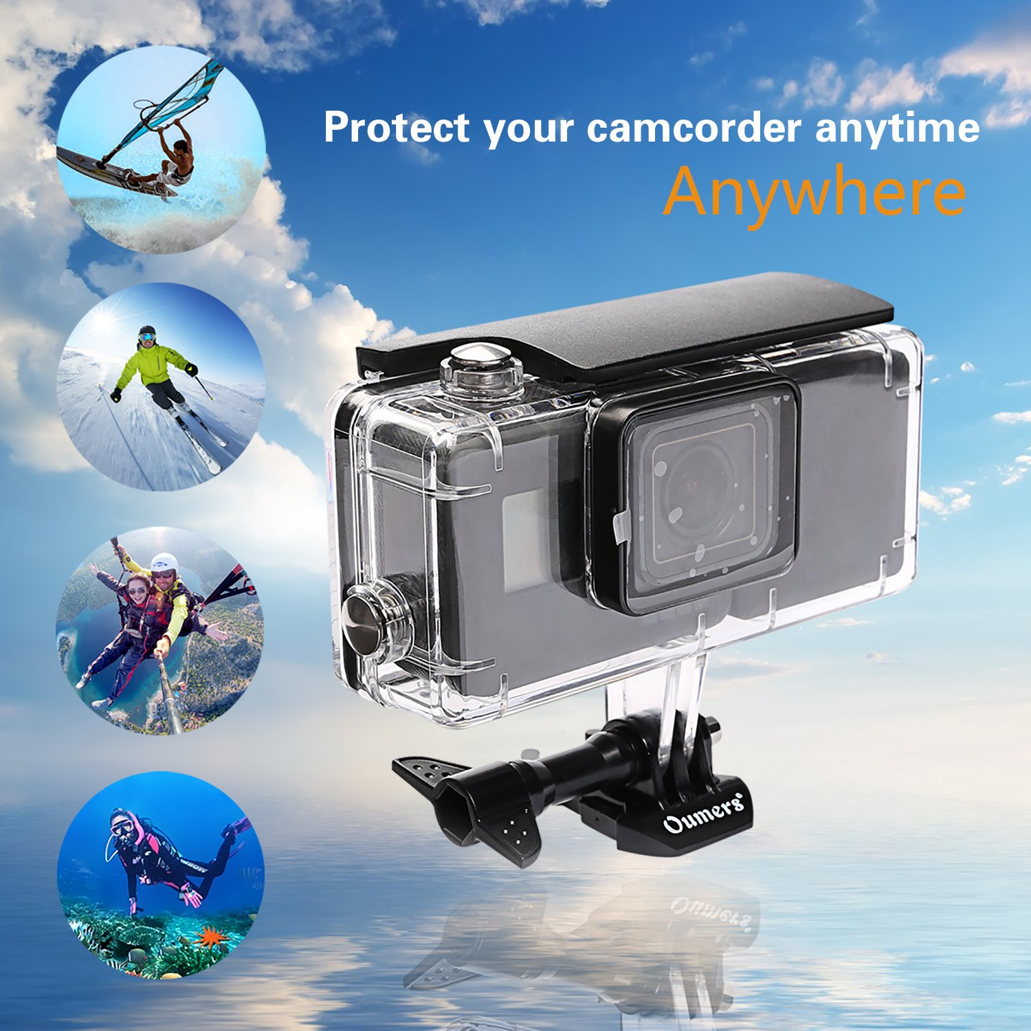 Replacement Waterproof Diving Cover//Protective Case 45M Underwater Photography Shooting // Hero5 Black// Hero6 with Extended Battery 2300mah /& Bracket 2018 Oumers Housing Diving Case for GoPro Hero7 Black// Hero