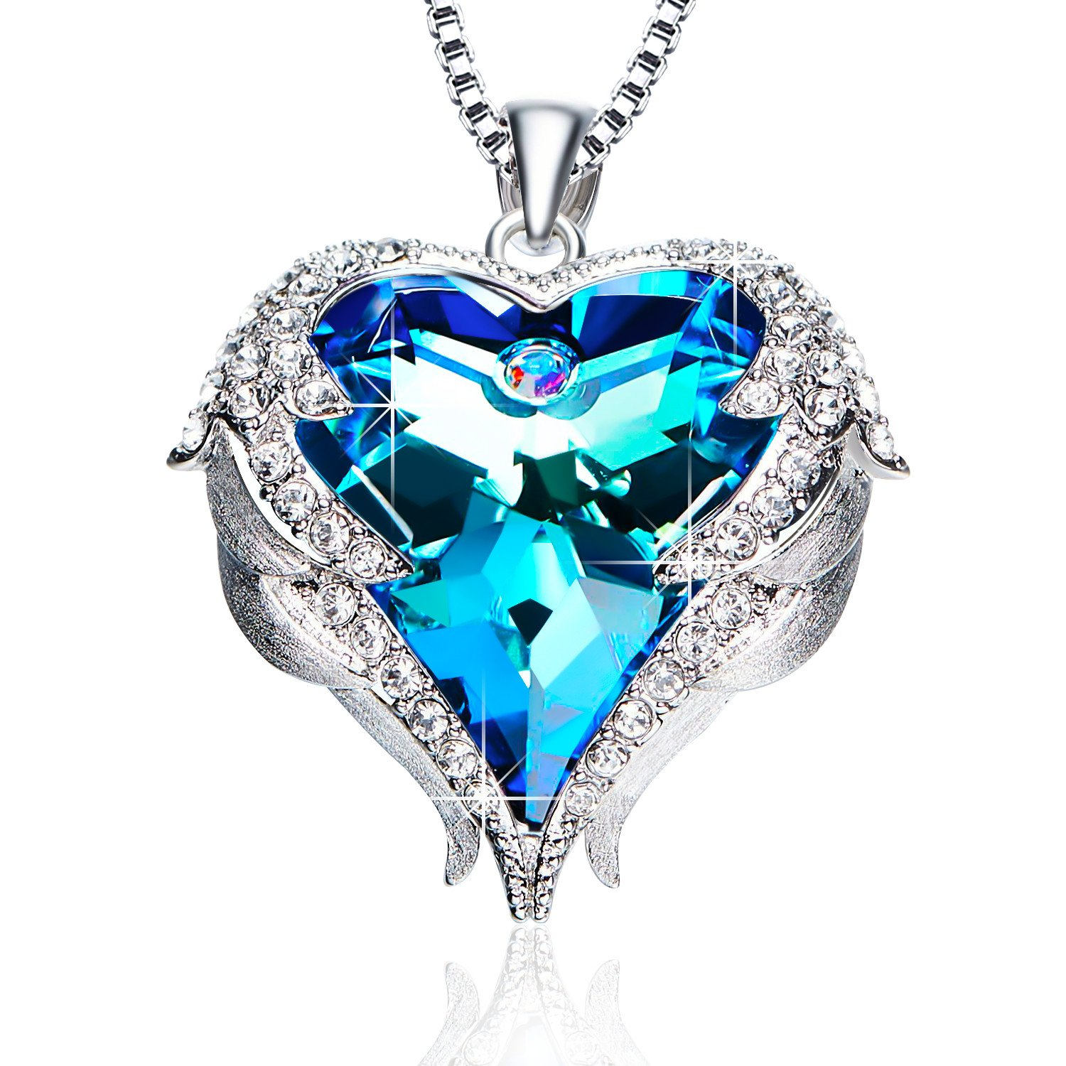 gold white single necklace diamond jewelry women jewellery heart pendant blue for