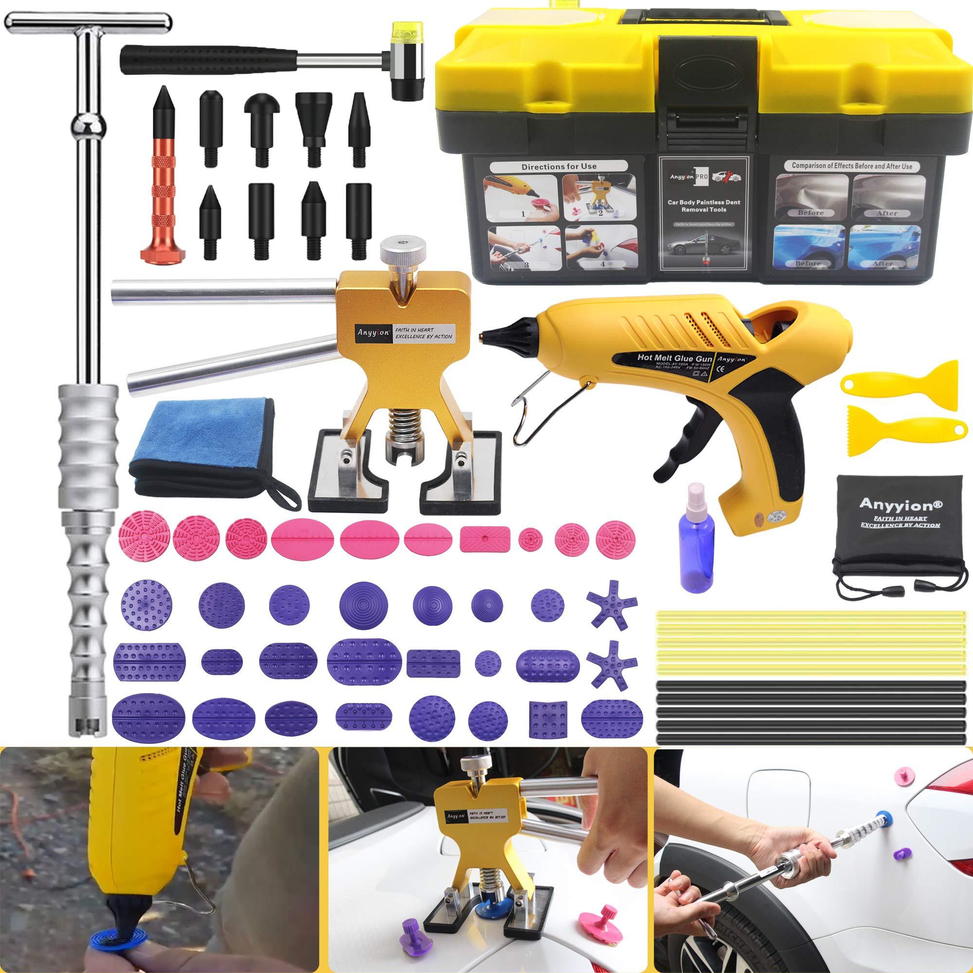Anyyion Paintless Dent Repair Kits - 64pcs Car Body Paintless Dent Repair Tools -Auto Dent Puller Kit Automotive Door Ding Dent Silde Hammer Glue Puller Repair Starter Set Kits for Car Hail Damage