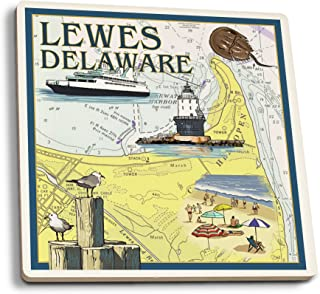 product image for Lantern Press Lewes, Delaware - Nautical Chart (Set of 4 Ceramic Coasters - Cork-Backed, Absorbent)