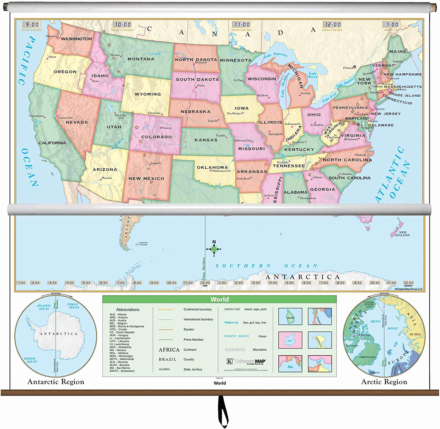 pull up a map of the united states Amazon.: United States / World Map   Pull Down Roller Map with