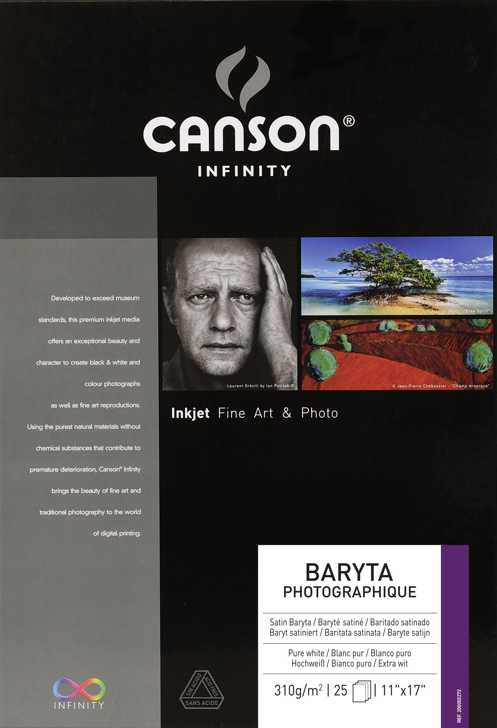 CANSON 200002272 Infinity Baryta Photographique Fine Art Photo Paper, Acid Free, Idea for Inkjet Portraits, 11 x 17 Inch, White, 25 Sheets by Canson