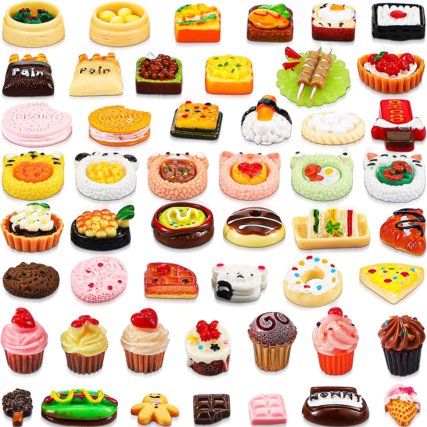 50 Pieces Miniature Food Drinks Toys Mixed Resin Foods for Doll Kitchen Pretend Play Mini Food Set for Adults Teenagers Boys Girls Dollhouse Cooking Game