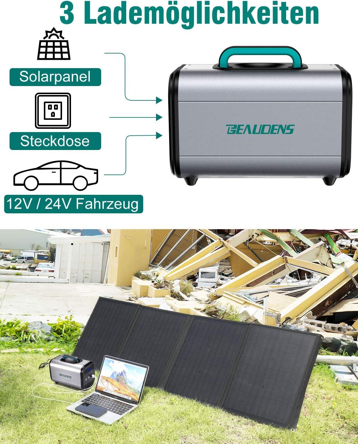BEAUDENS Tragbare Power Station 166Wh 52000mAh 230V AC 2 DC-Port und 3 USB Anschl/üsse f/ür Reise Camping Emergency Akku Generator mit Lithium-Eisen-Phosphat-Batterie