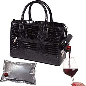 Primeware Insulated Drink Purse w/ 3L Bladder Bag | Thermal Hot and Cold Storage | Portable Drinking Dispenser for Wine, Cocktails, Beer, Alcohol | PU Leather Finish