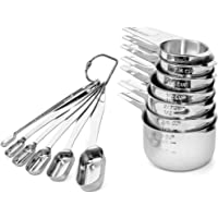 Molly Malone At Home Measuring Cups and Spoons Set - Highest Quality Stainless Steel - 7 Stackable Cups 6 Stackable Spoons - Engraved measurements in both ml and standard measure - Durable non-toxic