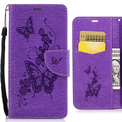 For Samsung Galaxy J3 Prime Case, Ougger Butterfly Printing Wallet Cover  Card Slot Premium PU Leather Flip Case Magnetic Bumper Pouch Holster