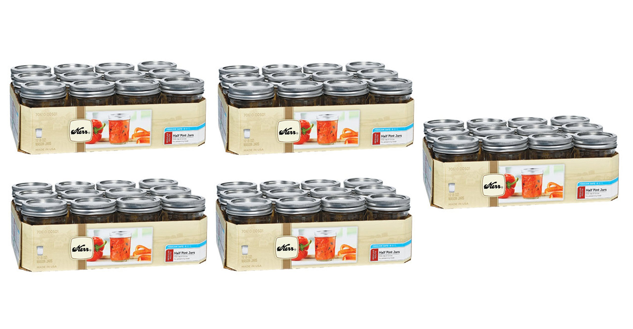 Kerr 1/2 8oz Pint Regular Mouth 12 Pieces Jars (5 Pack) Made in USA