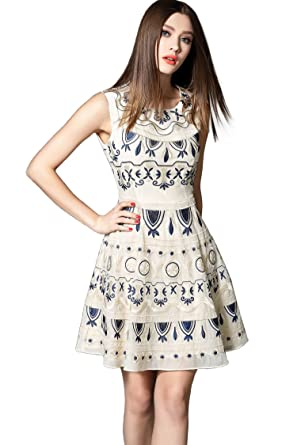 a8d98aa4572507 YUJIA Women s Casual Cotton Embroidery Sleeveless Mini Dress at ...