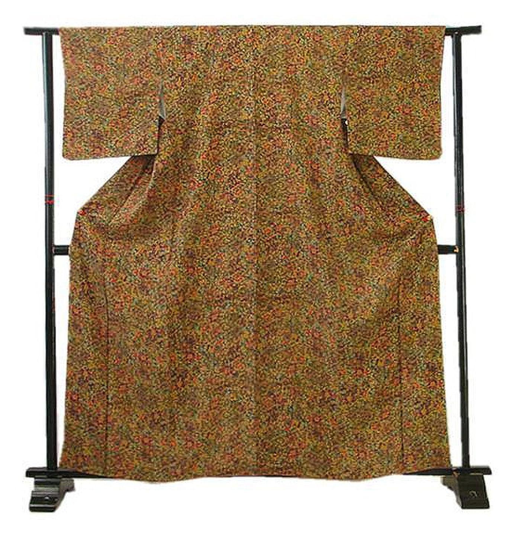 博多着物市場 きものしらゆり 裄64.4cm 更紗柄 小紋 正絹 仕立上り 袷 150cm~156cm の方に最適 B07FCWRFHQ  -