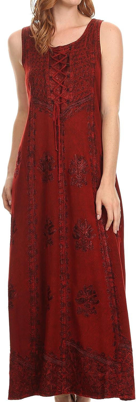Sakkas Stella Long Tank Top Adjustable Caftan Corset Dress Embroidery