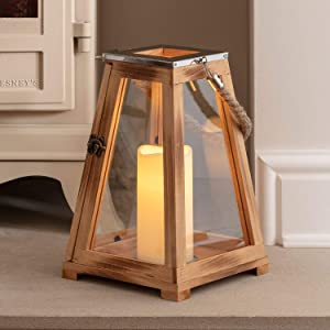 "Lights4fun, Inc. 12"" Wooden Battery Operated Indoor Flameless LED Candle Lantern"