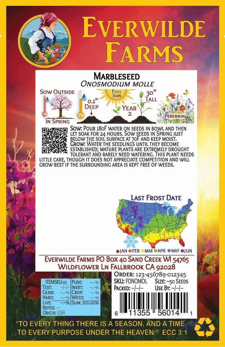 50 Marbleseed Wildflower Seeds Everwilde Farms Mylar Seed Packet