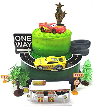 Cars 3 Birthday Cake Topper Set Featuring Lightning McQueen And Cruz