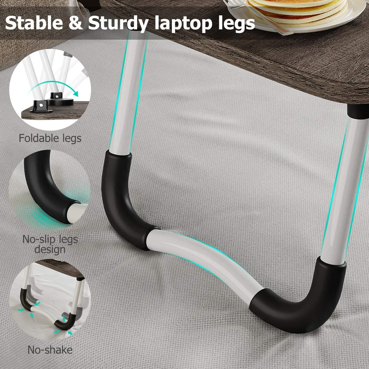 Laptop Stand for Bed, Portable Laptop Desk Tray Table with Foldable Legs for Bed Couch Sofa