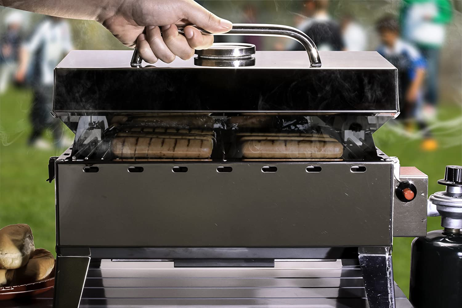 Camco 58145 Stainless Steel Portable Propane Gas Grill With Storage Bag Contact Grills