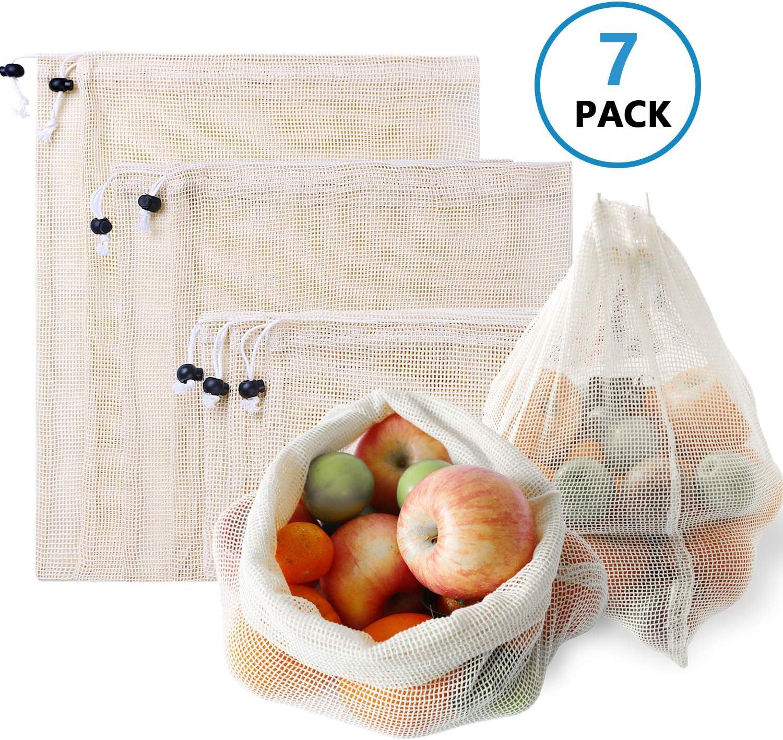 7PCS Sac /à L/égumes R/éutilisables Magasinage L/égumes et Jouets Stockage Fruits Coton flintronic Sacs de Fruits Sacs de Conservation des Aliments Sacs de L/égumes Lavables pour /épicerie