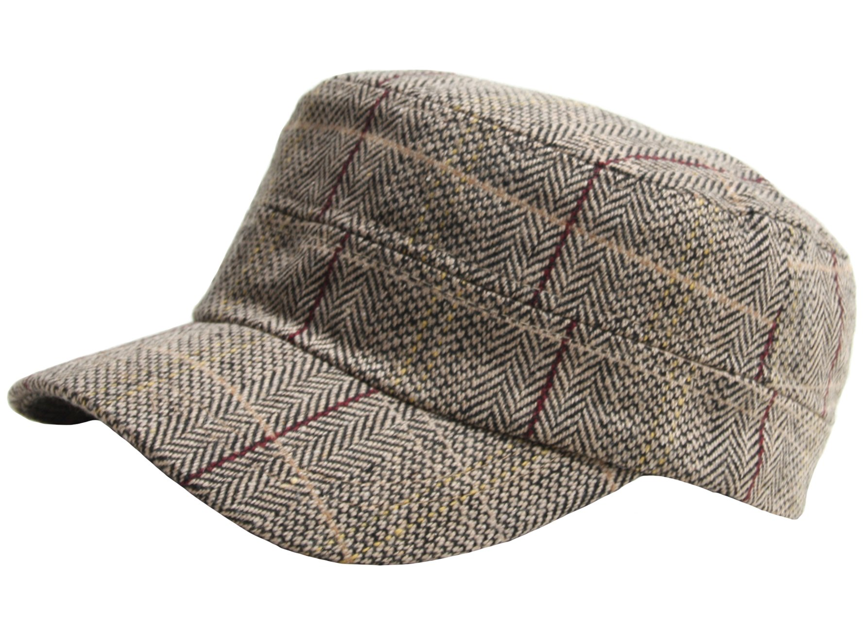 A115 Wool Herringbone Royal Check Pattern Style Club Army Cap Cadet Military Hat (Brown)