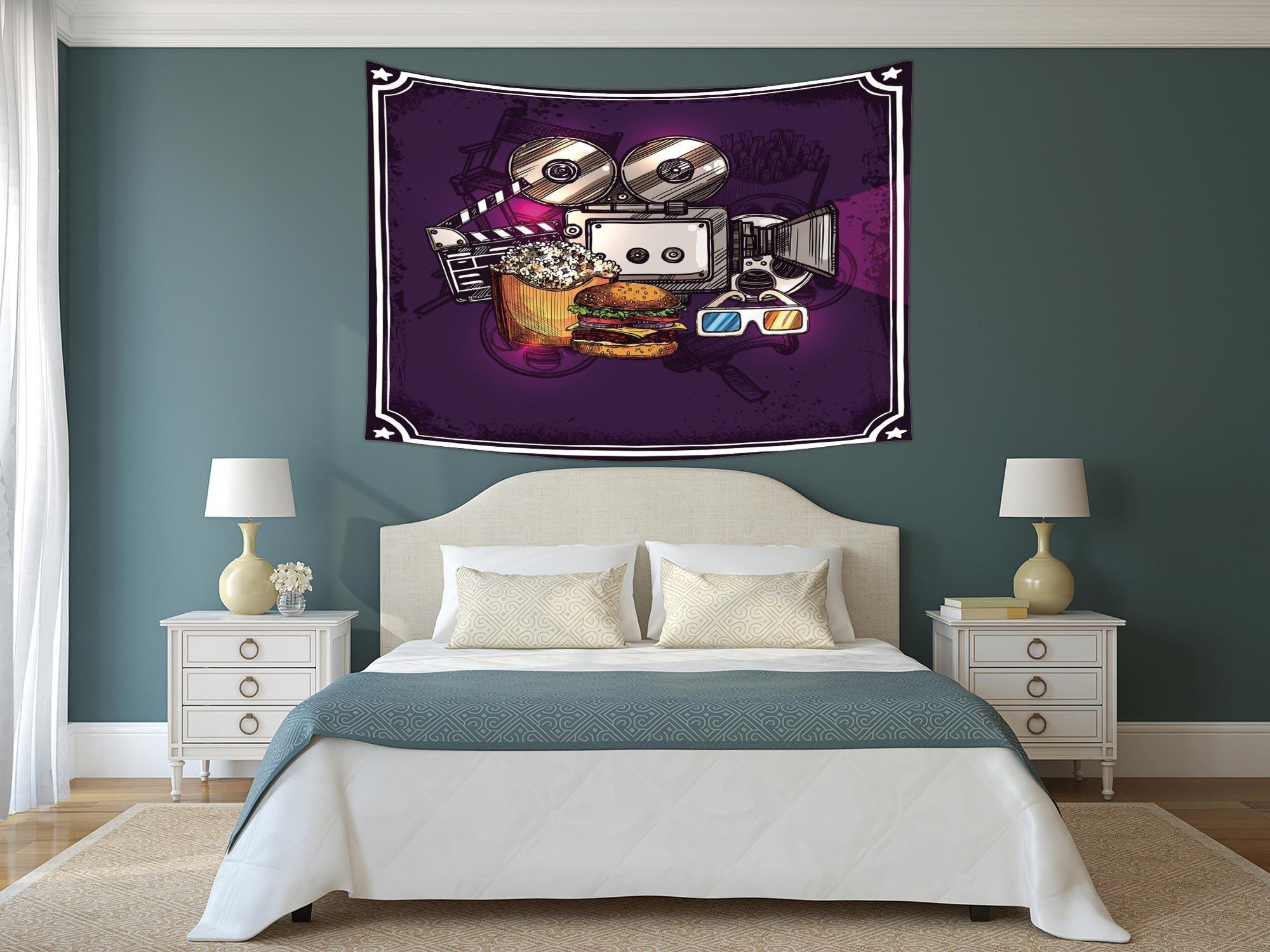 iPrint Polyester Tapestry Wall Hanging,Modern Decor,Cartoon like Cinema Movie Image Burgers Popcorns Glasses Art Print,Plum,Wall Decor for Bedroom Living Room Dorm