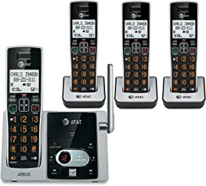 AT&T CL82413 DECT 6.0 Cordless Phone with Answering System - 4 Handsets, Black (ATTCL82413)